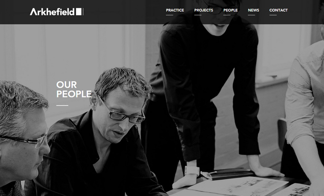 arkhefield architecture website black white layout